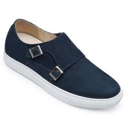 H7197-3 inches Taller - Height Increasing Elevator Shoes - Deep Blue Slip-on Fashion Sneakers
