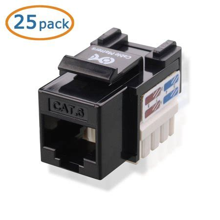 HD Enjoy 25-Pack Cat6 RJ45 Keystone Jack in Black and Keystone Punch-Down Stand