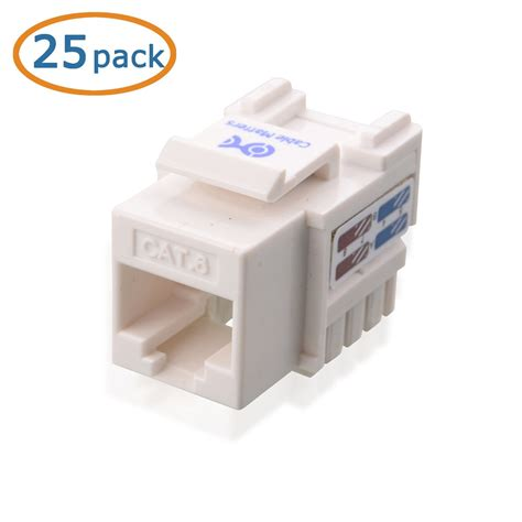 HD Enjoy 25-Pack Cat6 RJ45 Keystone Jack in White and Keystone Punch-Down Stand