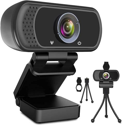 HD Pro PC camera, USB Webcam Camera, Full HD 1080P Camera, Desktop or Laptop Webcam, Widescreen Video Calling and Recording, Black