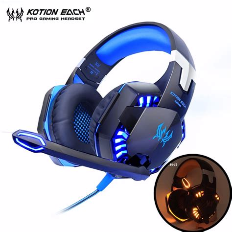 HITSAN gaming headphones kotion each g2000 best casque computer stereo deep bass game earphone headsets with mic led light for pc gamer
