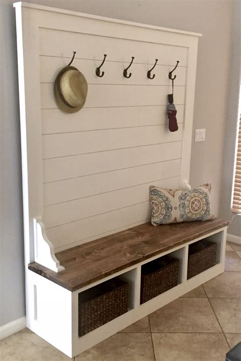 Hall Tree Storage Bench Woodworking Plan Example