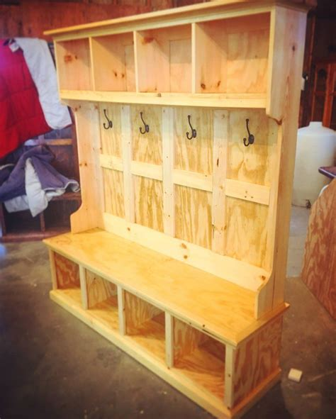 Hall Tree Storage Bench Woodworking Plan Maker