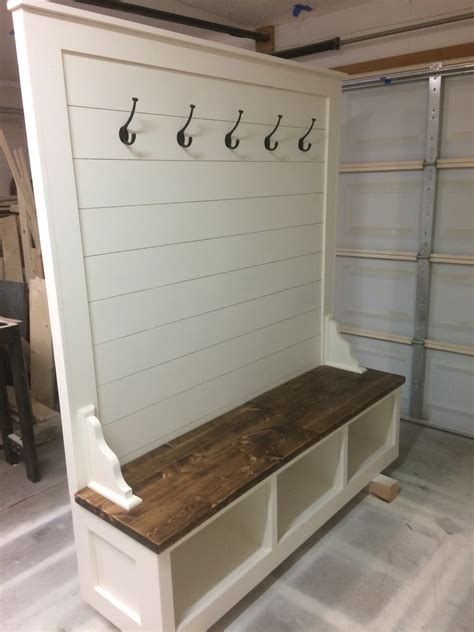 Hall Tree Storage Bench Woodworking Plan Nc