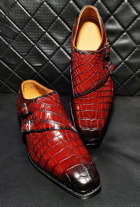 Handcrafted Men's Genuine Leather Single Monk Strap Modern Classic Brogue Wing-Tip Dress Shoes