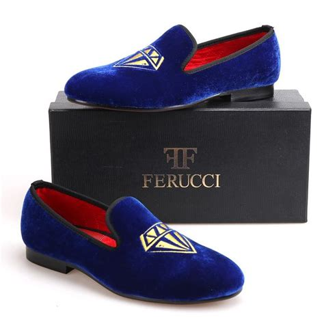Handmade FERUCCI Blue Men Velvet Slippers loafers with Black Bow