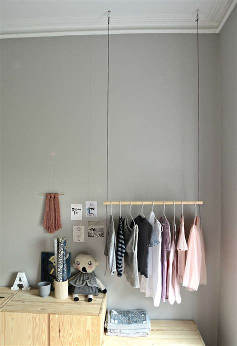 Hanging Clothes Rack From Ceiling DIY