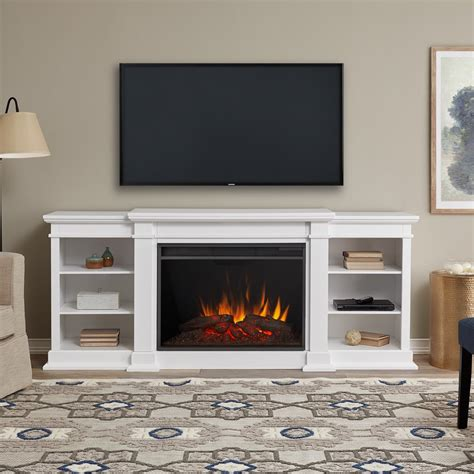 Hardwood entertainment center with fireplace Image