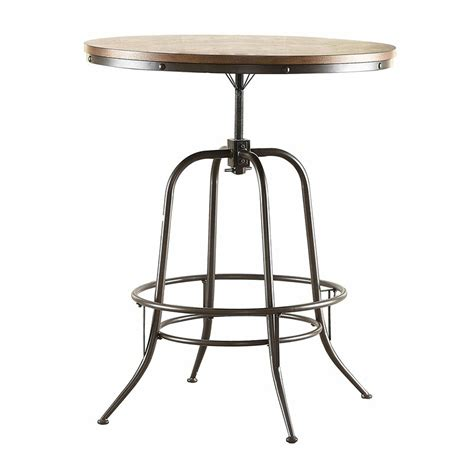 Harriet Wood/Metal Adjustable Counter Height Adjustable Dining Table