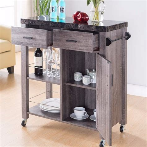 Hawksley Highly Functional Kitchen Cart With Marble Top
