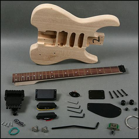 Headless Electric Guitar Diy Kit Project With Case