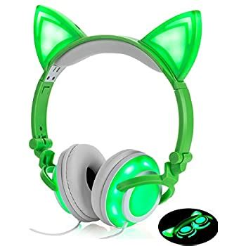 Headphone Cat Ear Headset,7 Colors LED Light with USB Chargeable Foldable Earphones for Kids Teens Adults, Compatible for Ipad,Tablet,Computer,Mobile Phone.