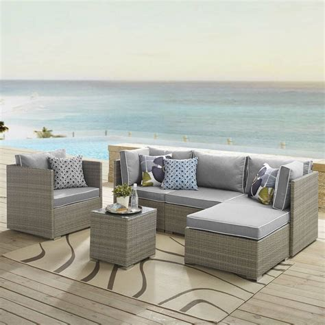 Heinrich 7 Piece Rattan Sunbrella? Sectional Set With Cushions