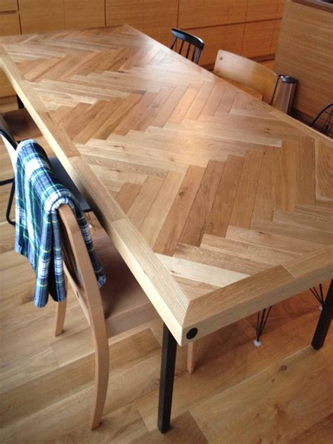 Herringbone Pattern Table Diy Ideas