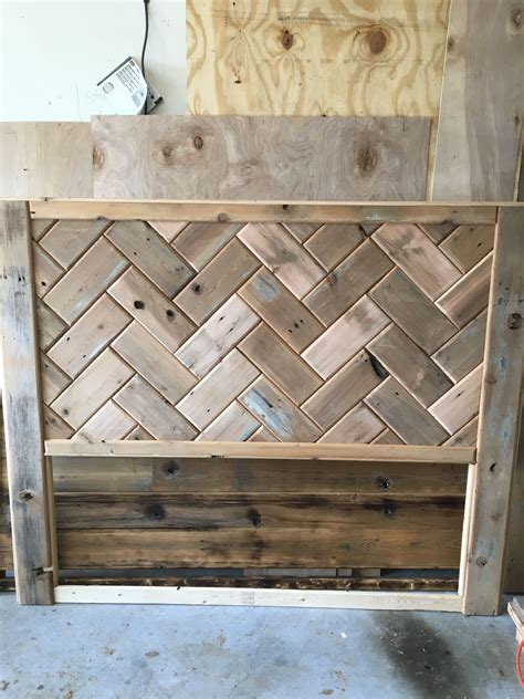 Herringbone Wood Headboard Diy With Built In