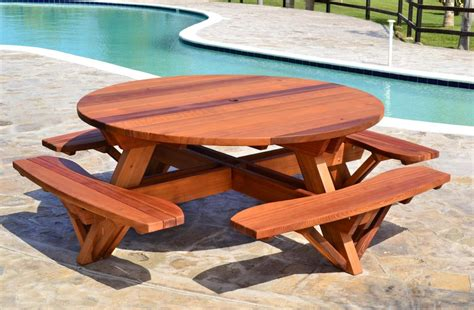 Hexagon Picnic Tables With Attached Benches For Bedroom