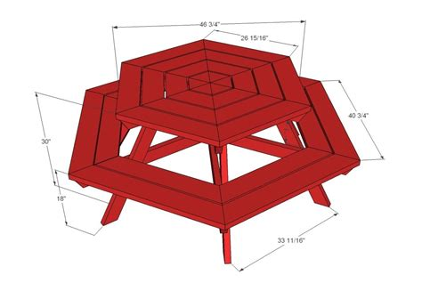 Hexagon Shaped Picnic Table Plans