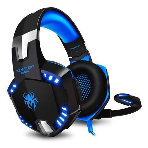 High Quality Stereo Gaming Headphone Computer Game Headset Headband with Microphone Glaring LED Light(Blue)