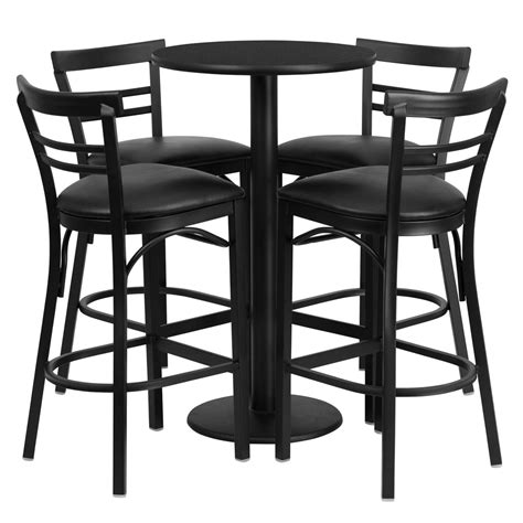 High Top Table Set Details About Set Of Round High Top Restaurant Cafe Bar Table And Wood Seat Stool Chair Set High Top Dining Table Set 4 Chairs