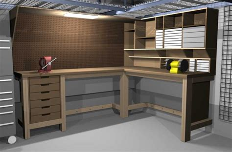 Home Plans L Shaped Garage Workbench Ideas