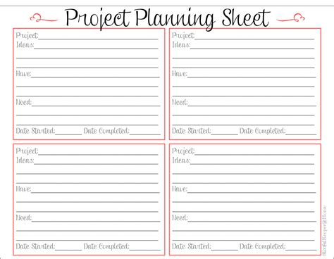 Home Project Planner Sheet