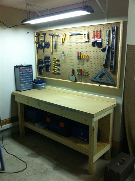 Home Work Bench Plans Pegboard