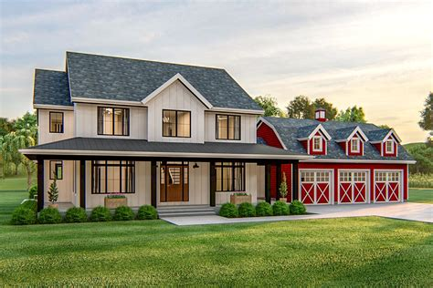 Home-Plans-With-Attached-Barn