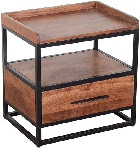 Homegoods Brown Wood And Metal Side Table With Drawer