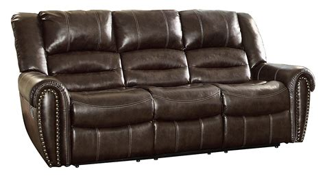 Homelegance 9668brw 3 Double Reclining Sofa