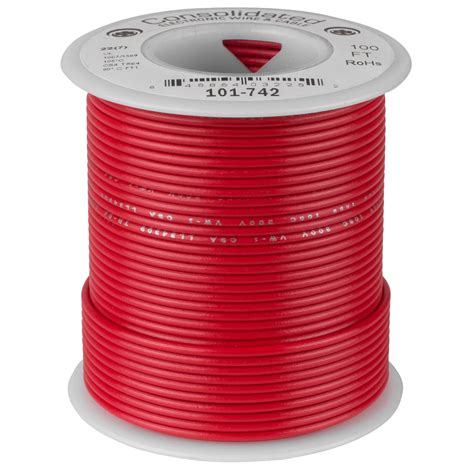 Hook-up Wire 22AWG 7/30 PVC 100ft SPOOL RED