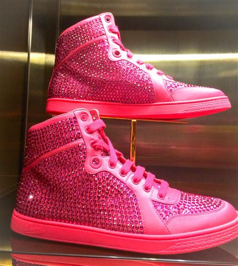 Hot Pink High Top Gucci Sneakers