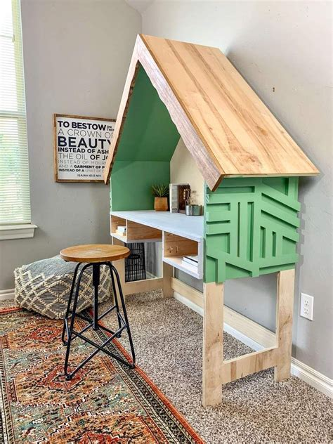 House Bed Frame Full Diy Desk