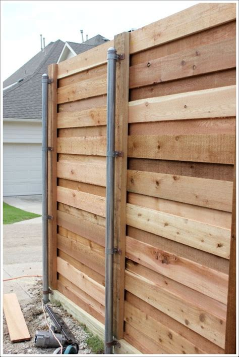 How To Build A Horizontal Wood Fence With Metal Posts