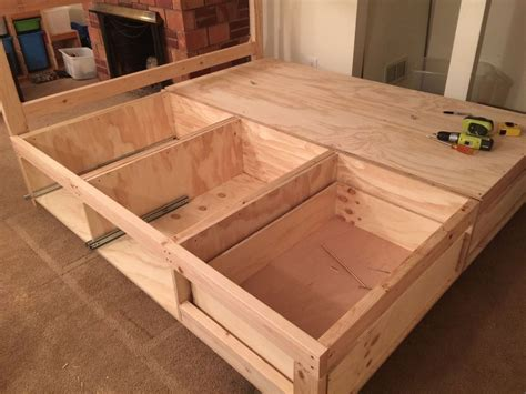 How To Build A Platform Bed With Storage Drawers Plans Zombies