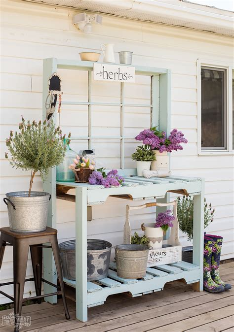 How To Build A Potting Bench From An Old Bed