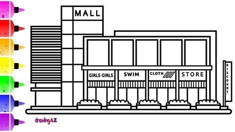 How To Draw A Shopping Mall Easy