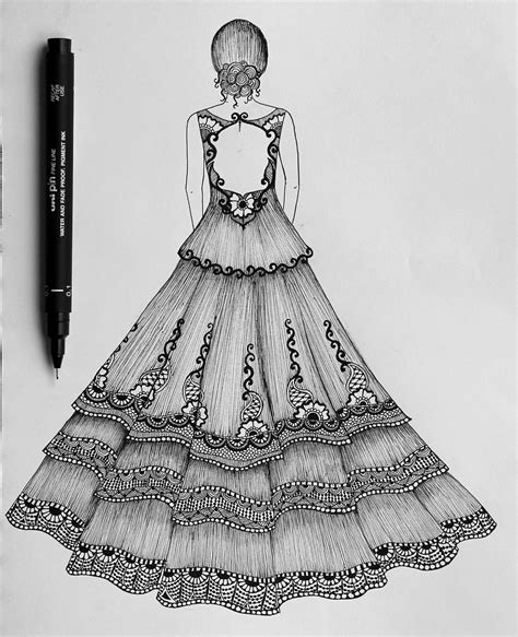 How To Draw Designs Of Dresses