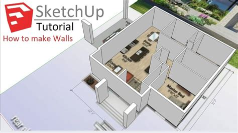 How To Draw Floor Plans In Google Sketchup Tutorial Youtube