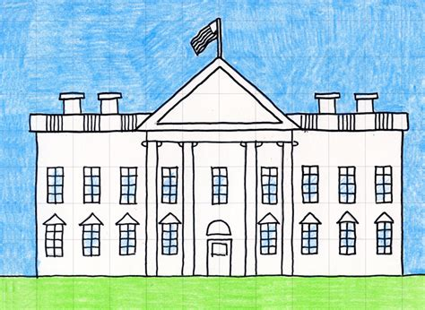 How To Draw The Front Of The White House