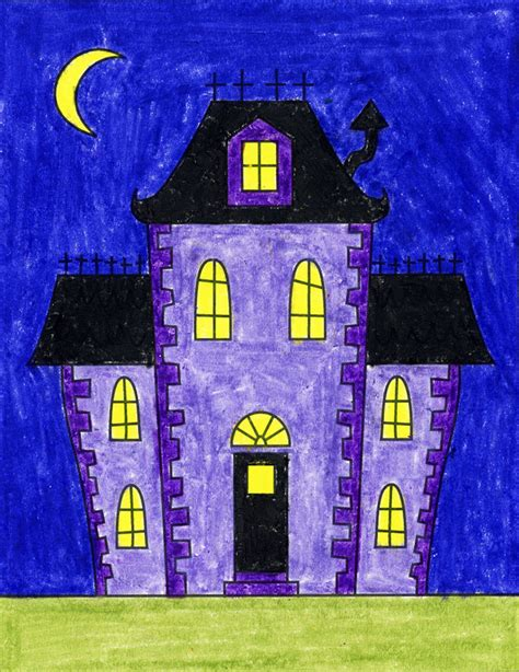 How To Draw Wedge And Haunted House