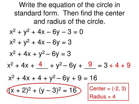 How To Find The Center And Radius Of A Circle With Standard Form
