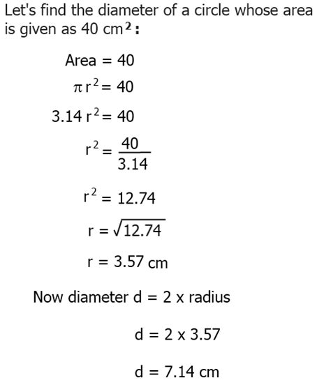 How To Find The Diameter Of A Circle When Given Area
