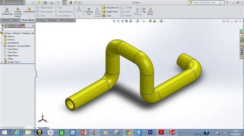 How To Make A Right Angle Pipe In Solidworks