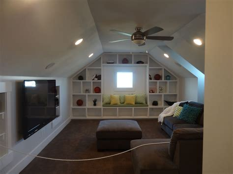 How To Make Built In Cabinets In Attic Over Garage Slanted Wall