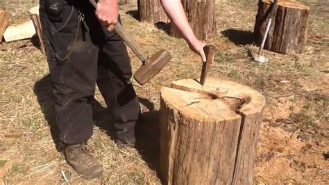 How To Split Long Pieces Of Fire Wood By Hand