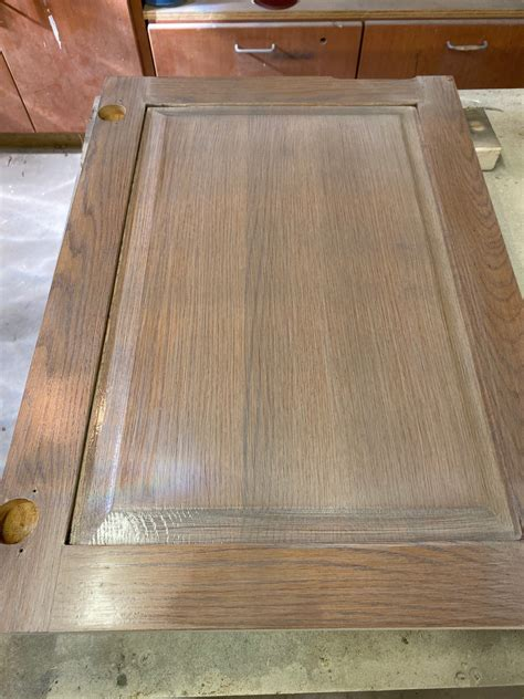 How To Stain Honey Oak Cabinets Gray