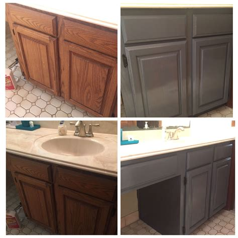 How To Stain Honey Oak Cabinets With Minwax Weathered Gray
