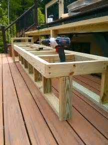 How to build a deck bench seat with back Image