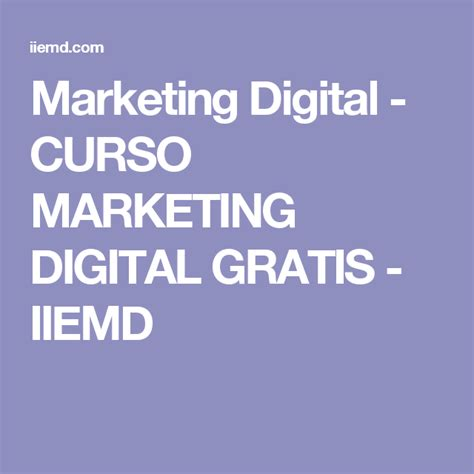 Iiemd Curso Marketing Digital Gratis
