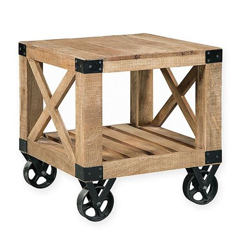Industrial End Table With Wheels